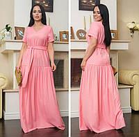 Женское платье в пол розовое лён