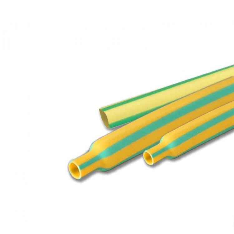 Трубка термоусадочная 10/5 мм желто-зеленая, 1 метр Takel (Такел)