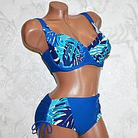 54 размер, чашка 95F, 95G, 95GG. Красивый купальник на большую грудь, темно-синий с пальмовыми листьями