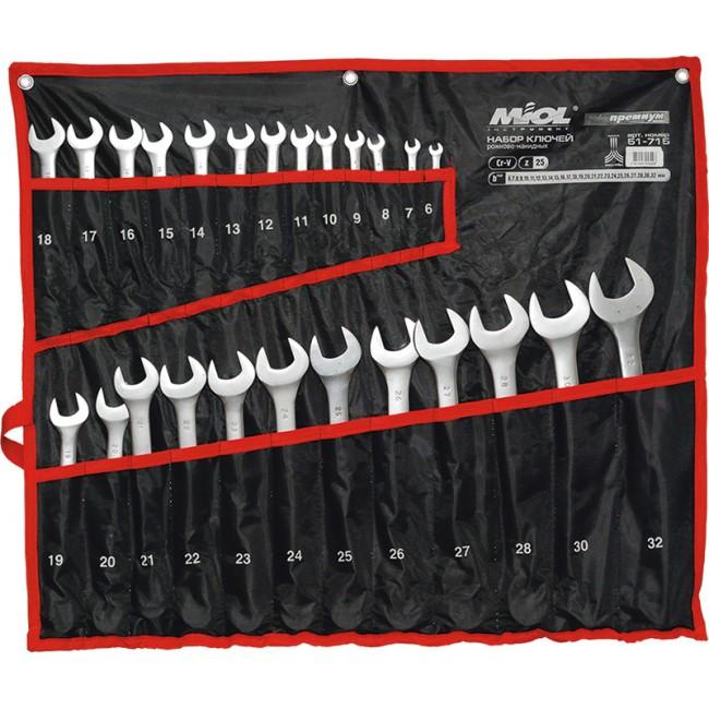 Набор комбинированных ключей на полотне 25 пред. 6-32 мм MIOL 51-715