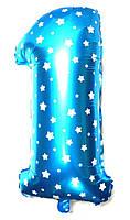 """Фольгированный воздушный шар Цифра """"1"""" 65 см Голубой"""