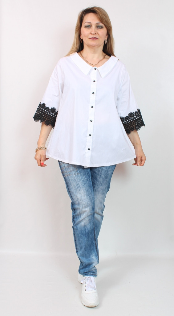 Турецкая белая офисная блузка больших размеров 54-64
