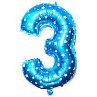 """Фольгированный воздушный шар Цифра """"3"""" 65 см Голубой"""