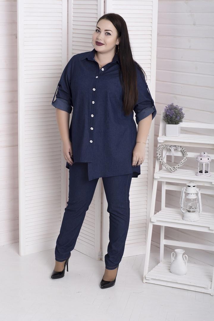 Модная женская рубашка из джинса батал с 48 по 98 размер
