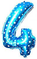 """Фольгированный воздушный шар Цифра """"4"""" 65 см Голубой"""