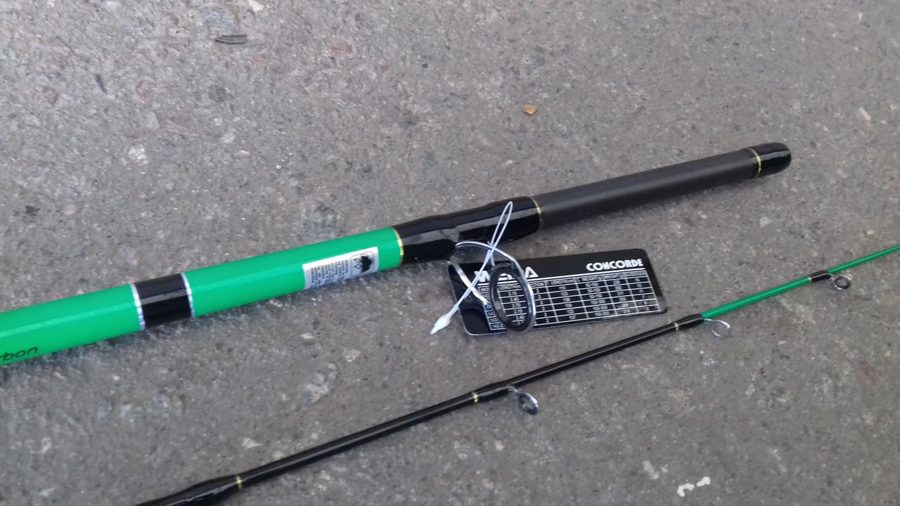 Спиннинг штекерный   зеленый  weida Concord   карбоновый   2,4 м (SIC-кольца)  50 -150 гр тест