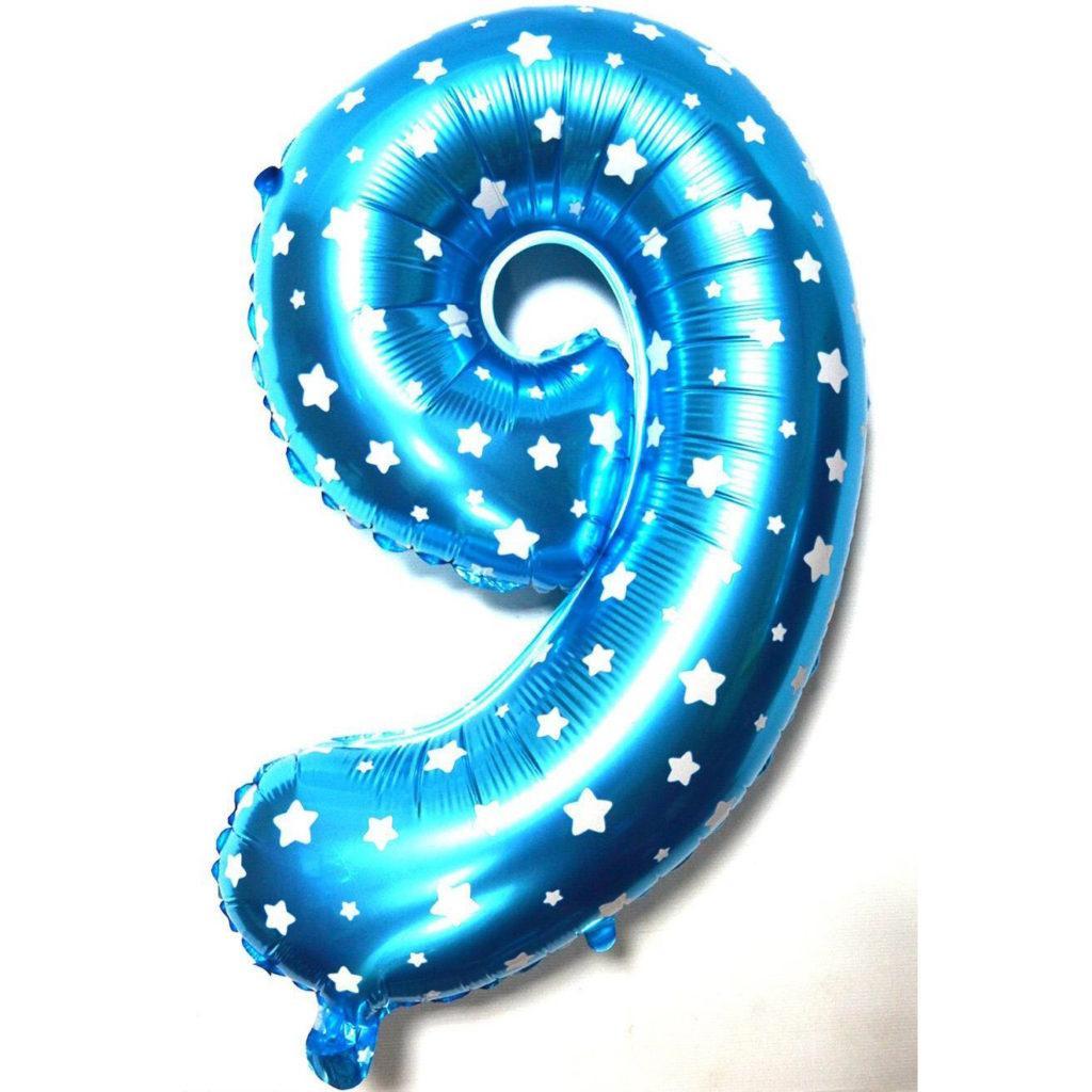 """Фольгированный воздушный шар Цифра """"9"""" 65 см Голубой"""