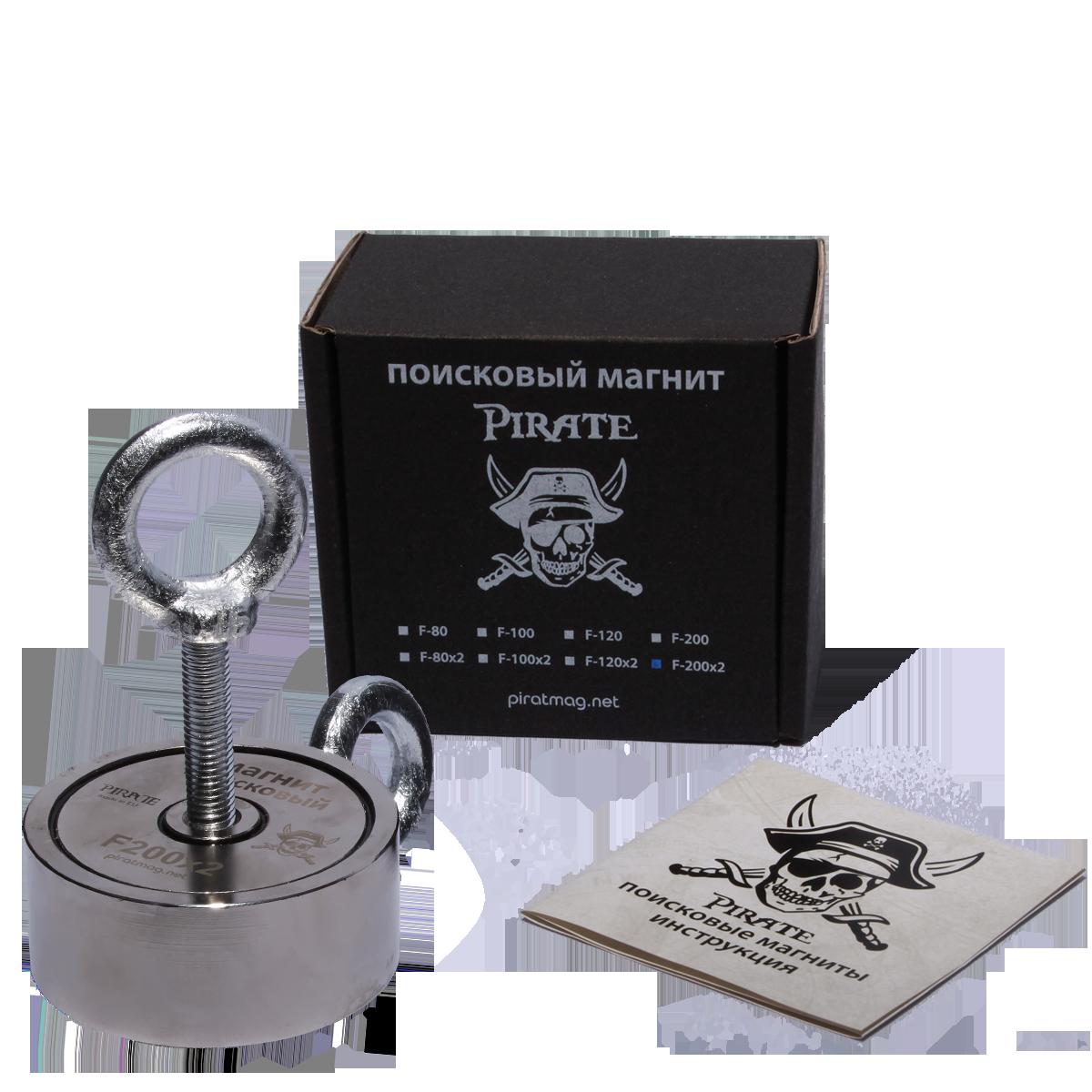 Поисковый магнит F-200х2 Пират двухсторонний + ТРОС 🎁
