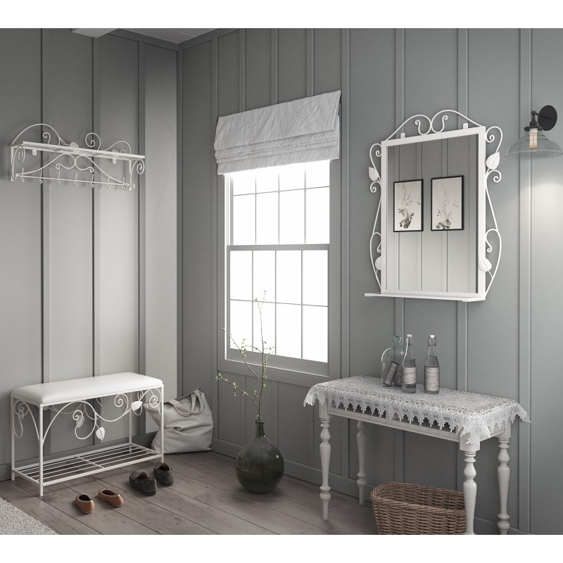 Комплект прихожей Тенеро Ричмонд (вешалка, пуф, зеркало) Белый