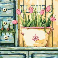 Картина по номерам на холсте Розовые тюльпаны, KHO2028