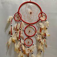 Ловец снов 5 колец - защита от плохих снов (красный)