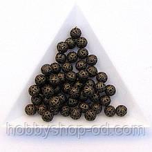 Бусины Ажурные 6 мм бронза (в уп. 1000 шт)