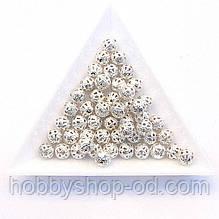 Бусины Ажурные 8 мм св. серебро (в уп. 1000 шт)