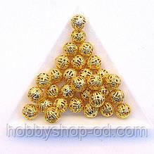 Бусины Ажурные 8 мм золото (в уп. 1000 шт)