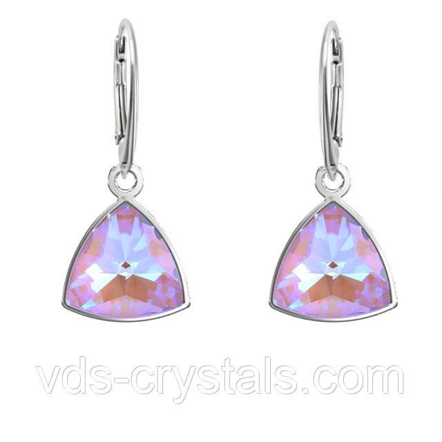 Срібні сережки з кристалами Swarovski Crystal Lavender DeLite 4799 Kaleidoscope Triangle