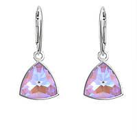 Срібні сережки з кристалами Swarovski Crystal Lavender DeLite 4799 Kaleidoscope Triangle, фото 1