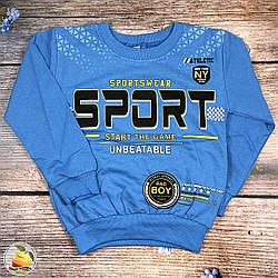 """Синий батник """"Спорт"""" для мальчика Размеры: 110,116,122,128 см (8782-3)"""