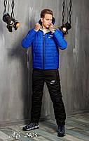 Лыжный зимний мужской костюм на синтепоне с овчиной Nike (электрик) дутый стеганый утепленный костюм