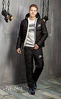 Мужской лыжный зимний костюм на синтепоне с мехом Nike (цвет черный) спортивный теплый дутый стеганый плащевка