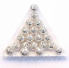 Бусины Ажурные 10 мм св. серебро (в уп. 1000 шт)