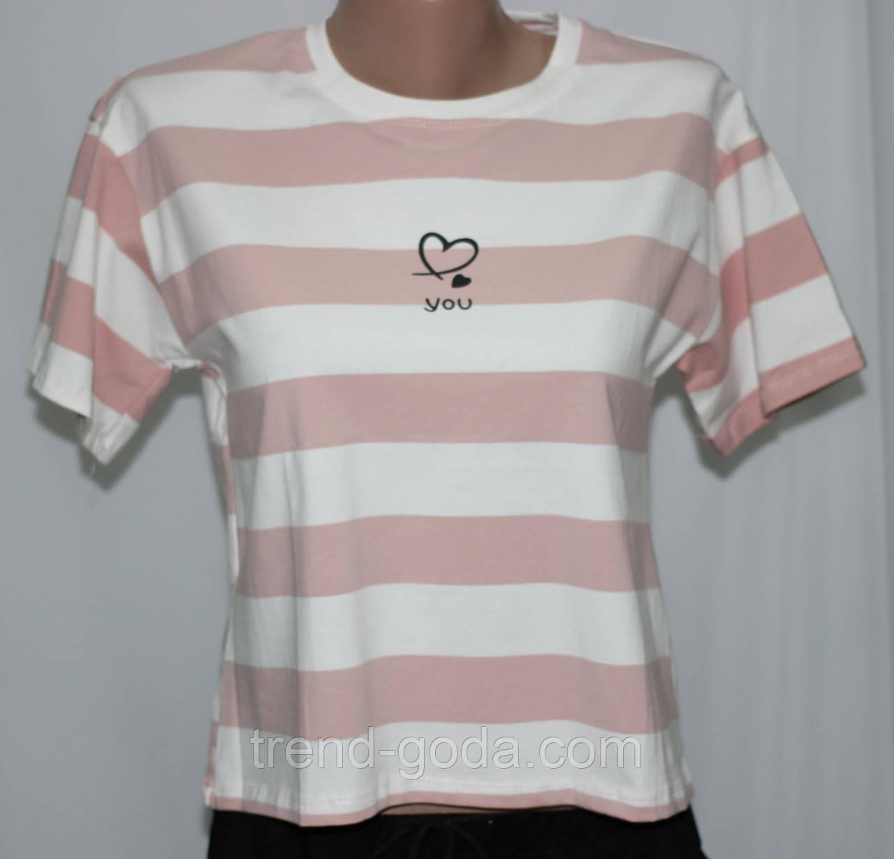 Футболка женская, белая в розовую полоску
