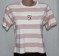Футболка женская, белая в розовую полоску, фото 1