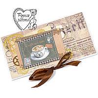 Подарунковий сертифікат 20 на 10 см, конверт, листівка З найкращими побажаннями, ручна робота, під замовлення