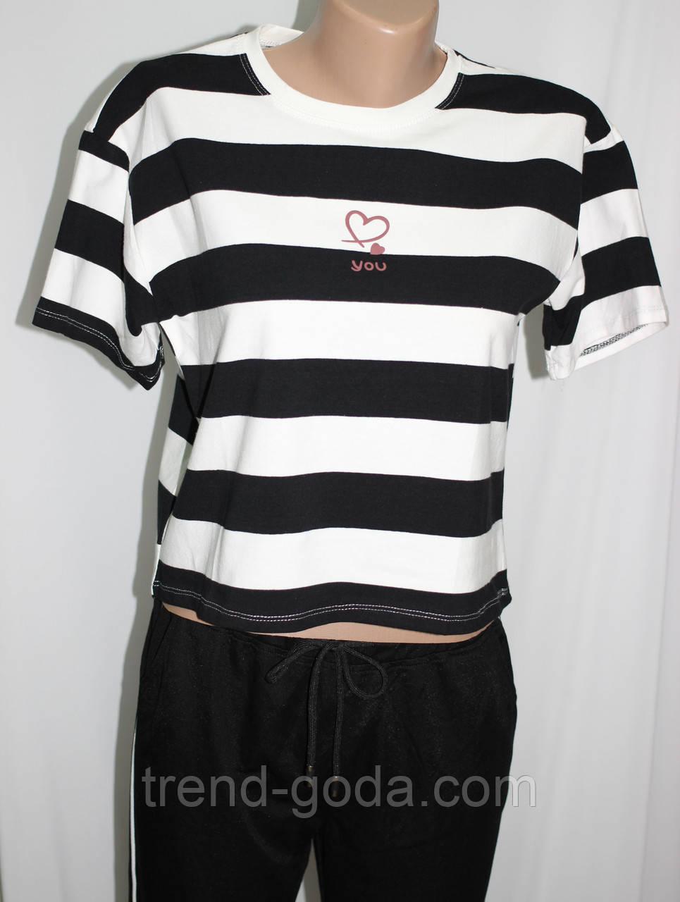 Футболка женская, белая в черную полоску