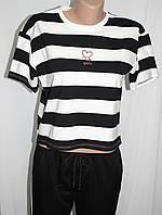 Футболка женская, белая в черную полоску, фото 1