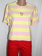 Футболка женская, желтая в розовую полоску