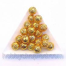 Бусины Ажурные 10 мм золото (в уп. 1000 шт)