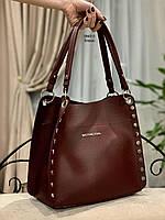Сумка большая бордовая женская на плечо модная городская шоппер брендовая кожзам, фото 1