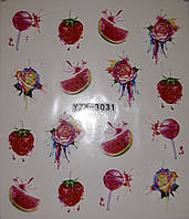 Наклейки - слайдеры на ногти - сладости, фрукты и коктейли.