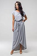 ✔️ Длинное летнее платье с поясом Asti 44-52 размера серое, фото 1