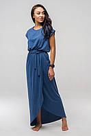 ✔️ Длинное летнее платье с поясом Asti 44-52 размера синее, фото 1