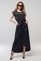 ✔️ Длинное летнее платье с поясом Asti 44-52 размера черное, фото 1