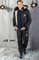 Костюм мужской зимний лыжный на синтепоне стёганый Nike спортивный, черный теплый куртка на меху и брюки