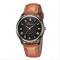 Женские часы Geneva с римскими цифрами черный циферблат | 88344, фото 1