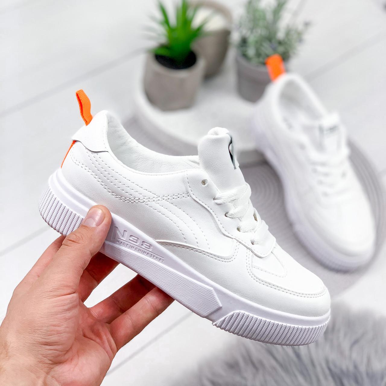 Кроссовки женские в стиле Force белый + оранжевый 8093