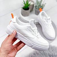 Кроссовки женские в стиле Force белый + оранжевый 8093, фото 1