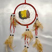 Ловец снов с индейцем - защита от плохих снов (красный)