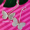 Длинные серьги Бабочки - Брендовые серьги висячие  - Серьги подвески серебряные, фото 4