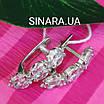 Серебряные серьги дорожки с фианитами - Серьги с цирконием родированное серебро, фото 9