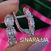 Серебряные серьги дорожки с фианитами - Серьги с цирконием родированное серебро, фото 4