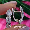 Серебряные серьги дорожки с фианитами - Серьги с цирконием родированное серебро, фото 2