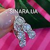 Серебряные серьги дорожки с фианитами - Серьги с цирконием родированное серебро, фото 3