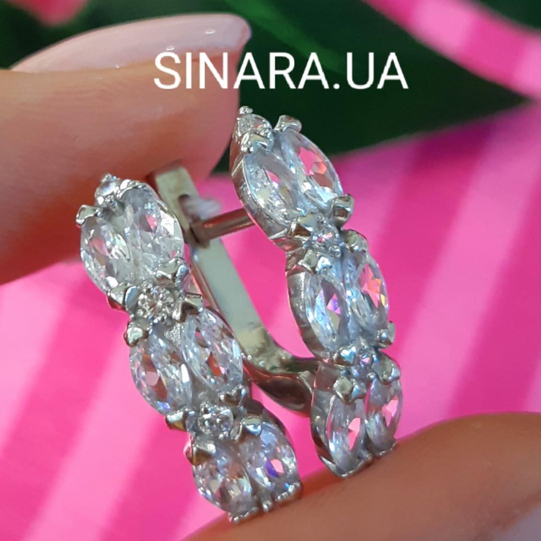Серебряные серьги дорожки с фианитами - Серьги с цирконием родированное серебро
