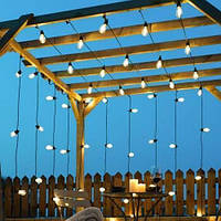 Ретро гирлянда черная 10 метров 21 лампа LED EDISON + защита от дождя IP-33 и монтажный трос в подарок, фото 1