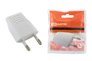 Вилка б/з белая 10А 250В (евровилка CEE 7/16) прямой вывод проводника TDM