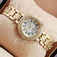 Женские Часы Cartier crystal Gold/Gold